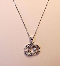 Designer 925 Genuine Sterling Silver CZ Charm Pendant Statement Necklace  (13)