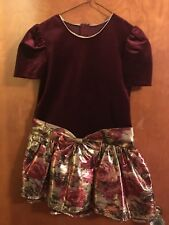 Girl's Gold/Red Christmas Dress with Tulle Size 7