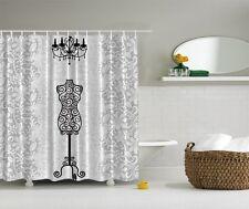 Vintage Black Dress Form Shower Curtain Glamour Chandelier Bath Decor