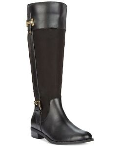 Karen Scott Women's Deliee2 Tall Riding Boot Size 8.5M Black Microsuede