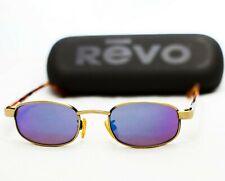 REVO sunglasses vintage 1112 gold mirror blue tortoise small oval rectangular