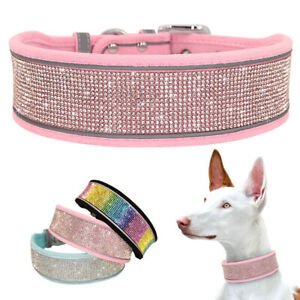 Soft Rhinestone Dog Wide Collar Bling Studded Necklace Reflective for M L XL Dog
