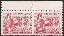 North Vietnam Stamp - Scott #84/A28 150d Horizontal Pair WG Mint/NH 1958