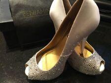 Benjamin Adams Satin Peep Toe Bridal Shoes