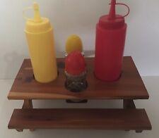 New listing Vintage Picnic Table Condiment Holder Cedar Wood Salt Pepper Ketchup Mustard