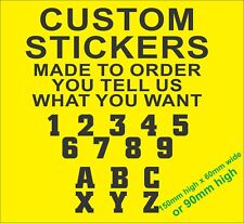 CUSTOM RACE NUMBERS & LETTERS STICKERS /  CAR DECALS/ RALLY BIKE MOTOCROSS BOAT