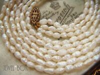 VINTAGE JEWELLERY REAL RICE PEARL MULTI TRIPLE STRAND NECKLACE SPECIAL GIFT