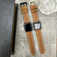 For Apple Watch Series 6 SE 5 4 3 42mm 44mm Thick Soft Brown Leather Strap Band