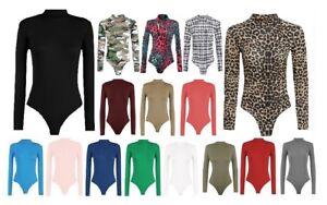 Ladies Women Plain Turtle Polo Neck Bodysuit Long Sleeve Leotard Top size 8-26