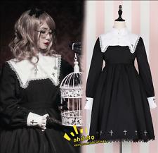Lolita Gothic Vintage Sweet Women's Black Long Sleeve Harajuku Cross Dress E332