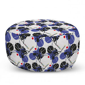 Ambesonne Geometric Ottoman Pouf Decor Soft Foot Rest & Removable Cover