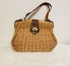 Vintage 30s - 40s Bamboo and Leather Top Handle Purse Handbag