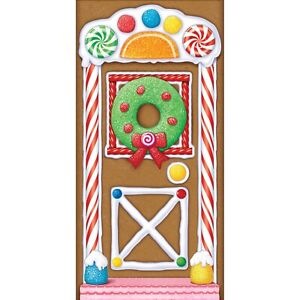 CHRISTMAS GINGERBREAD DOOR COVER POSTER PARTY WALL DECORATION WREATH LOLLIES