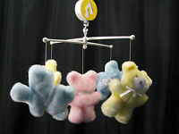 VINTAGE EDEN MUSICAL PASTEL TEDDY BEARS BABY CRIB MOBILE