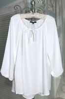 NEW~Plus Size 2X Ivory Off White Crinkle Boho Tie Shirt Top Peasant Blouse