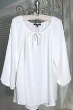 NEW~Plus Size 1X Ivory Off White Crinkle Boho Tie Shirt Top Peasant Blouse