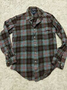Quilted Plaid Flannel Heavy Vintage Shirt Jacket  Brown Blue  80s 1980s Eighties  Mens Womens Medium Large  Western Cowboy Farm Utility