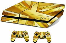 GOLD Union Jack Adesivo / Pelle PS4 PLAYSTATION 4 CONSOLE / controller remoto, ps4sk11