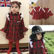 UK Newborn Baby Girl Christmas Plaid Ruffle Romper Bodysuit Outfit Clothes 0-24M