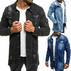 Men Denim Jacket coat Jean Jackets Destroyed Coats Frayed Jacket Denim Tops Rip