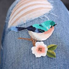 2 pcs New Flower Craft Sewing Embroidered Sew/Iron On Applique Patch Birds