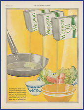Vintage 1926 WESSON OIL Kitchen Art Décor Frying Food 20's Print Ad