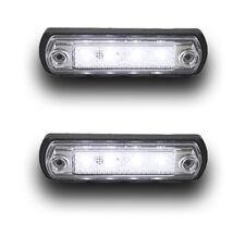 2 x MULTIVOLT 4 SMD LED WHITE SIDE MARKER INDICATOR LIGHTS LAMPS VAN CHASSIS BUS