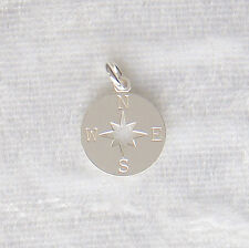 Sterling Silver Compass Star Charm 13mm 925