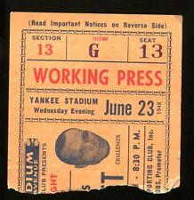 1948 Boxing Ticket Joe Louis v Jersey Joe Walcott Yankee Stadium 6/23/48 23237