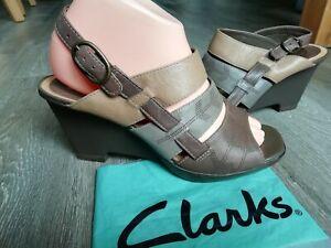 Clarks SCOTCH MIST Brown & Beige Leather Slingback Wedge Heel Sandals size 5.5