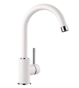 BLANCO MIDA HD Kitchen Mixer Tap with High, Curved Spout High Pressure – WHITE