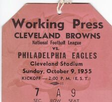 1955 Browns v Eagles Press Pass Ticket Cleveland NFL Champs 10/9/55 24662