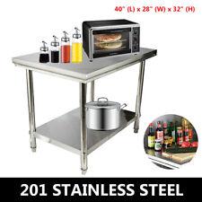 40x28 Stainless Steel Kitchen Worktable Restaurant Food Prep Work Bench Cabinet