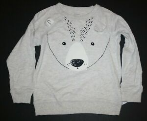 New Carter's Boys 5T year Sweatshirt Top Pullover Teddy Bear Face Gray Terry