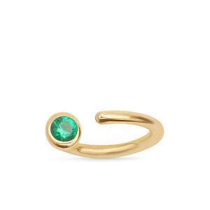 14K Real Gold Emerald Ruby Open Hoop Huggie Earring Cartilage Helix  EarPiercing