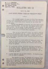 1939 Antique John Deere Bulletin / Jd Power Take Off Windrow Press