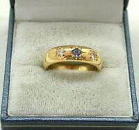 Superb Very Heavy 22ct Gold Ceylon Sapphire And Diamond Ring