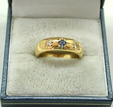 Superb Very Heavy 22ct Gold Ceylon Sapphire And Diamond Ring