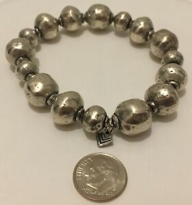 Silpada Sterling Silver Oxidized Atmospheric Hammered Ball Bead Stretch Bracelet