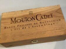 VINTAGE MOUTON-CADET WOODEN BOX WINE CRATE BARON PHILIPPE DE ROTHSCHILD FRANCE