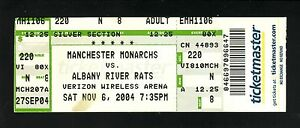 Manchester Monarchs--2004 Ticket vs Albany River Rats--AHL--Kings Affiliate