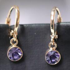 1.5 Ct Round Cut Purple Amethyst Hoop Earrings 14K Rose Gold Plate Women Jewelry