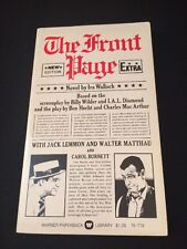 1975 THE FRONT PAGE Ira Wallach Paperback 1st Warner Library Edition Great Cond.