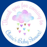 CHRISTENING,PARTY BAG LABELS BLUE,PINK,LEMON PERSONALISED GLOSS BABY SHOWER