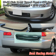 TR Style Front Lip (PU) + CTR Rear Lip (PU) + Grill (ABS) Fit 99-00 Civic 2dr