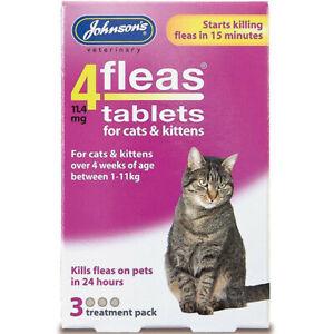 Johnsons Flea Cat Kitten Tablets 3 Treatments Fleas Killer Vet Cats and Kittens