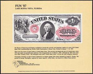 1987 Florida - FUN '74 - Souvenir Card with 1874 $1 Bank Note SCCS: B-102, NSC33