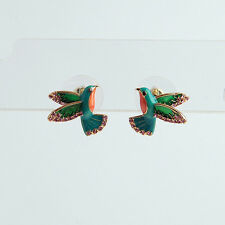 Women's Scenic Route Hummingbird Stud Earrings Enameled Crystal Pave Gold Plated