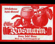 "ETIQUETTE ANCIENNE d'ALCOOL DE POMME ""ROSMARIN / SILHER"" Franz MAIER de WIEN"