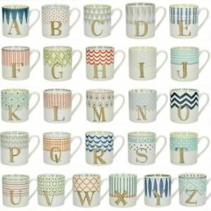 New Creative Tops Alphabet Letters A to Z Mug Gold Monogrammed Coffee Cup 300ml